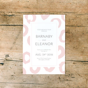 Painted Ink Hoop Pattern Wedding Day Invitations