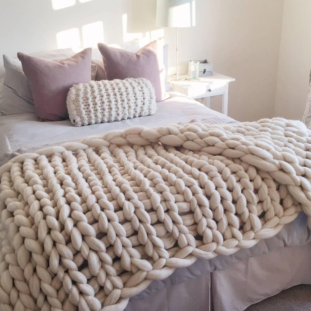 Woolacombe Super Chunky Hand Knitted Throw By Lauren Aston