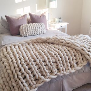 Woolacombe Super Chunky Hand Knitted Throw - artisan decor