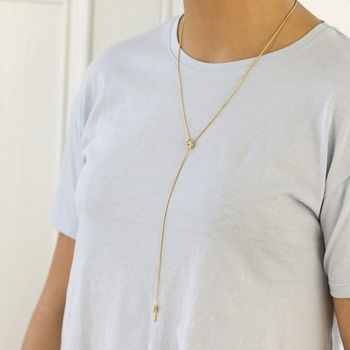 Double Knot Long Lariat Necklace