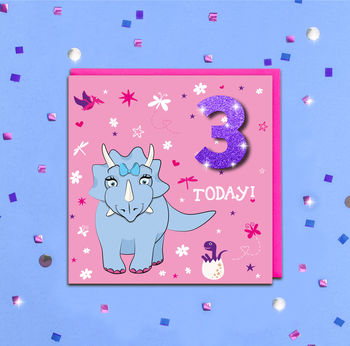 Personalised Glitter Girl Dinosaur Kids Age Card