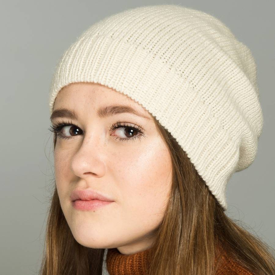 British Alpaca Beanie In Natural White