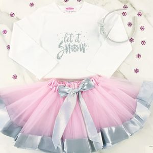 'Let It Snow' Silver Sparkle T Shirt And Tutu Gift Set - new in christmas
