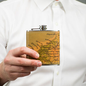 Personalised Vintage Map Location Hip Flask