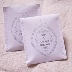 Name Crest Wedding Favour Tea Pack Of 10 - unusual favours