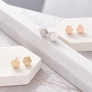 Hexagonal Brushed Finish Earrings