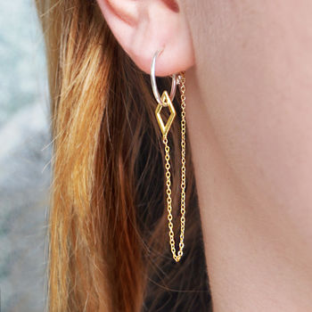 Diamond Geometric Gold Stud Hoop Chain Earrings