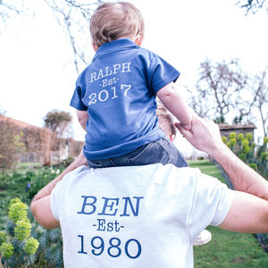 Personalised Established Polo Shirt Set - first father's day