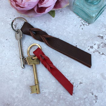 Leather twist keyring, small red, large mocha