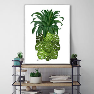Monstera Pineapple Print Tropical Art Print - canvas prints & art