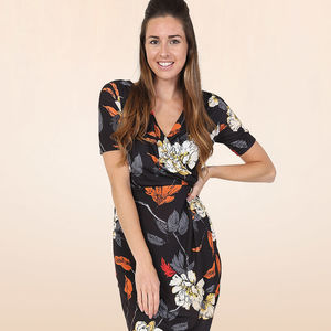 Jersey Sarong Autumn Bouquet Wiggle Dress