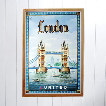 Original United Airlines Travel Poster, London