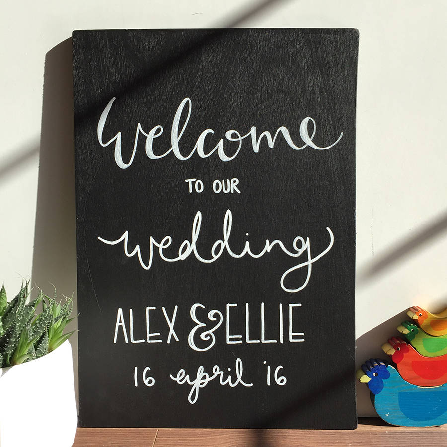 Wedding Chalkboard: Personalised Wedding Welcome Chalkboard Sign By Mee And Es