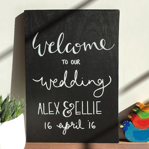 Personalised Welcome Wedding Chalkboard - outdoor decorations