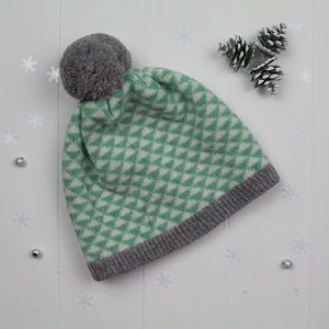 Triangle Knitted Pom Pom Hat In Mint - women's accessories