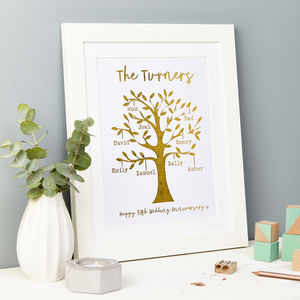 Personalised Gold Metallic Family Tree Framed Print