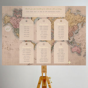 Vintage Travel Map Table Plan