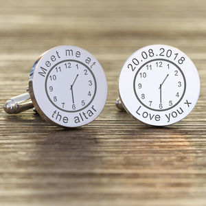 Personalised Any Message And Time Cufflinks - cufflinks