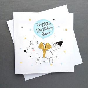Personalised Birthday Fox Card, Blue Or Pink Balloon