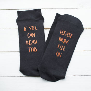 Personalised Please Bring Gin Copper Socks