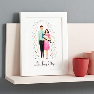 Personalised Couple Portrait Illustration Print - valentines lust list