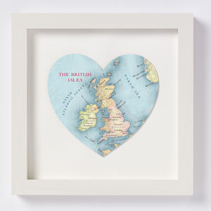 British Isles Map Heart Print - maps & locations