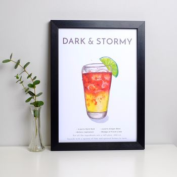 Cocktail Print Dark And Stormy