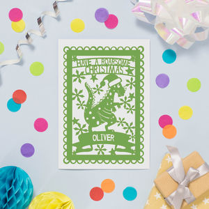 Personalised Roarsome Dinosaur Printed Christmas Card