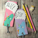 Personalised Happy Unicorn Name Bookmark For Children