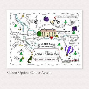 Print Your Own Colour Wedding Or Party Illustrated Map - hen party gifts & styling