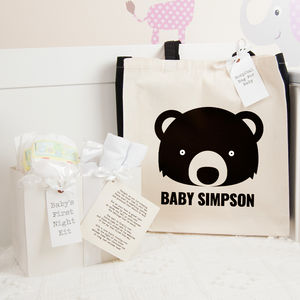 Personalised Bear Hospital Bag And First Night Kit