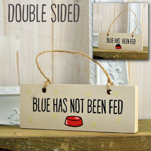 Dogs Been Fed/Not Fed Double Sided Personalised Sign - personalised