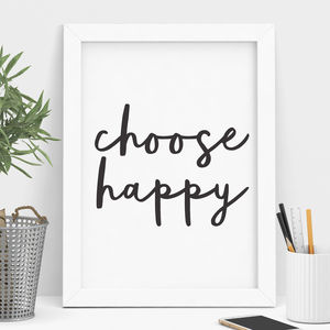 'Choose Happy' Typography Print - winter sale