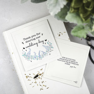 Wildflower Wedding Seed Packets With Blue Flower Design - wedding favours