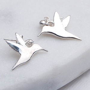 Silver Hummingbird Earrings - children's jewellery