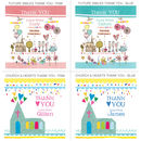 Personalised Christening Invites Showing the 4 thank you designs