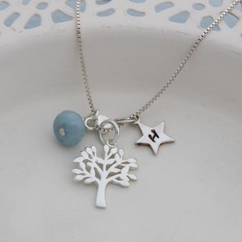 Mini Silver Tree Of Life Necklace With Birthstones