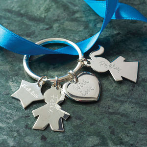 Personalised Sterling Silver Person Keyring - gifts for her