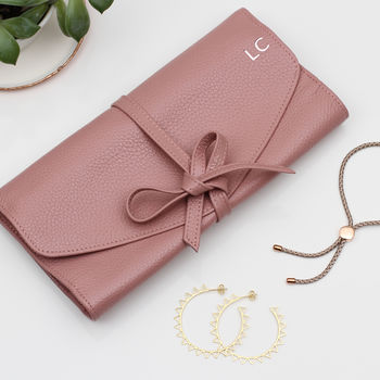 Personalised Luxury Leather Jewellery Roll