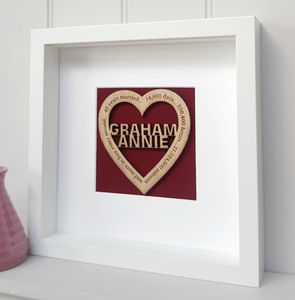 Ruby 40th Wedding Anniversary Personalised Oak Heart - dates & special occasions