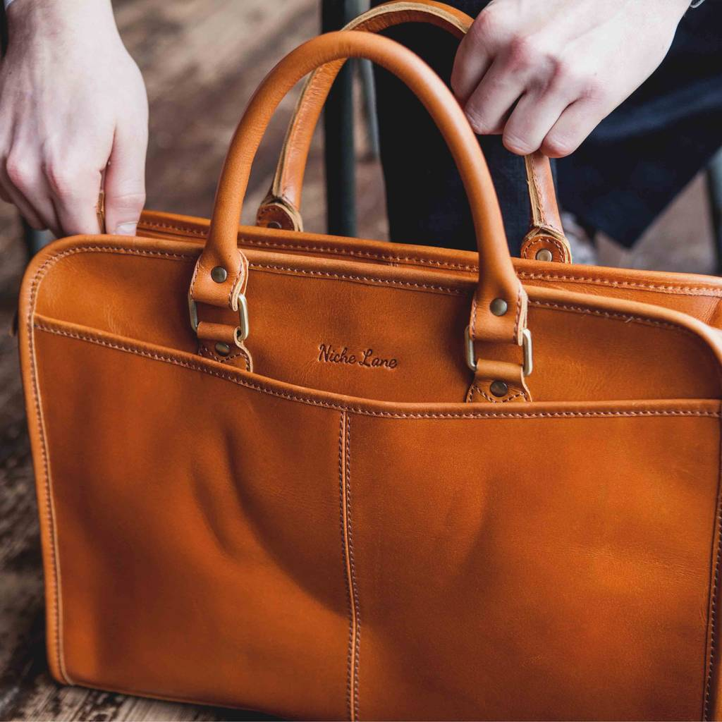 e3a8baa47 personalised leather laptop briefcase satchel 'loxley' by niche lane ...