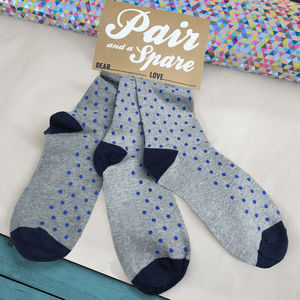 Stocking Filler 'Pair And A Spare' Set Of Three Socks - men's style