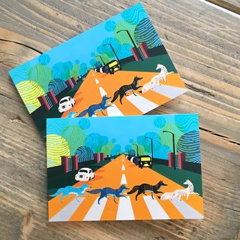 Abbey Road Foxes Greeting Cards, A6 Size