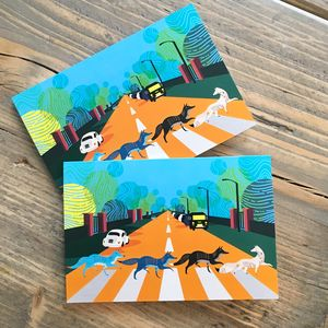 Abbey Road Foxes Greeting Cards, A6 Size - summer sale