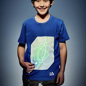 Childrens Interactive Green Glow Tshirt In Blue