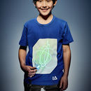 Children's Interactive Glow In The Dark T Shirt In Blue