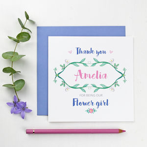 Botanical Flower Girl Thank You Card - flower girl cards