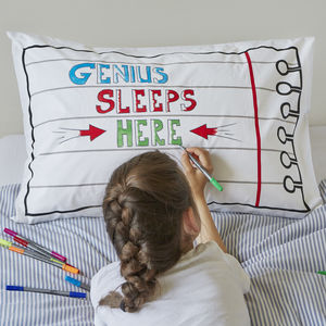 Doodle Notebook Pillowcase, To Personalise - bedroom