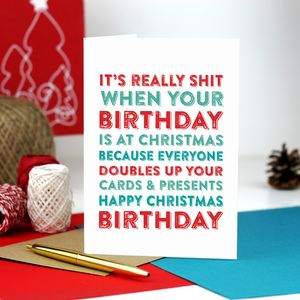 Merry Christmas Birthday Greetings Card - birthday cards