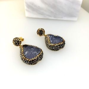 Chalcedony Gold Earrings